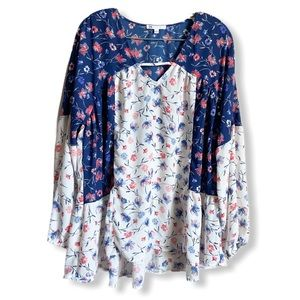 DR2 Floral Peasant Tunic Blouse